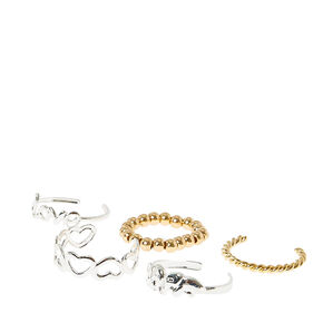 Love & Elephant Theme Toe Ring Set,