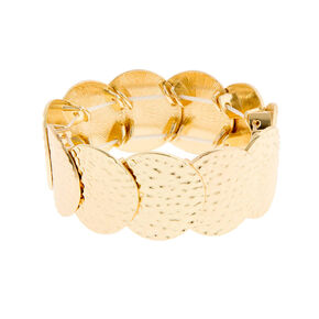 Hammered Gold Circles Stretch Bracelet,