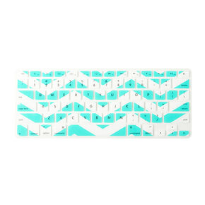 Mint and White Chevron Stripe Silicone  Keyboard Cover,