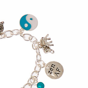 Sigma Kappa Sorority Silver Heart and Crystal Charm Bracelet,