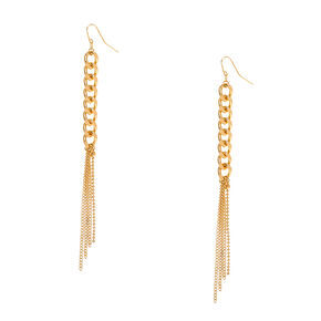 Gold-tone  Chain Link and Fringe Drop Earrings,