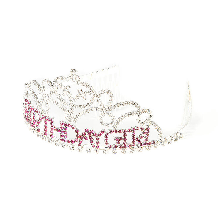 Birthday Girl Tiara with Clear and Pink Rhinestones,