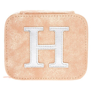 "Blush Pink ""H"" Initial Jewelry Case,"