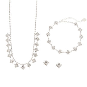 Rhinestone Chevron Circles Necklace, Bracelet and Stud Earrings Set,