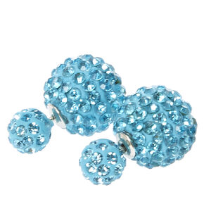 Blue Fireball Front and Back Stud Earrings,