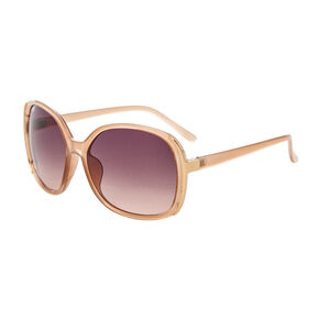 Brown Round Sunglasses with Gold Edges,