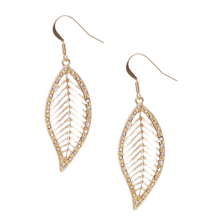 Gold Toned Glitter Leaf Earrings,