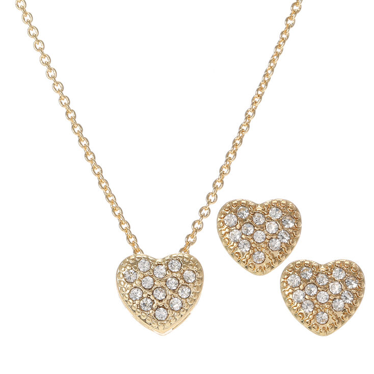 Gold Crystal Heart Necklace and Earrings Set,
