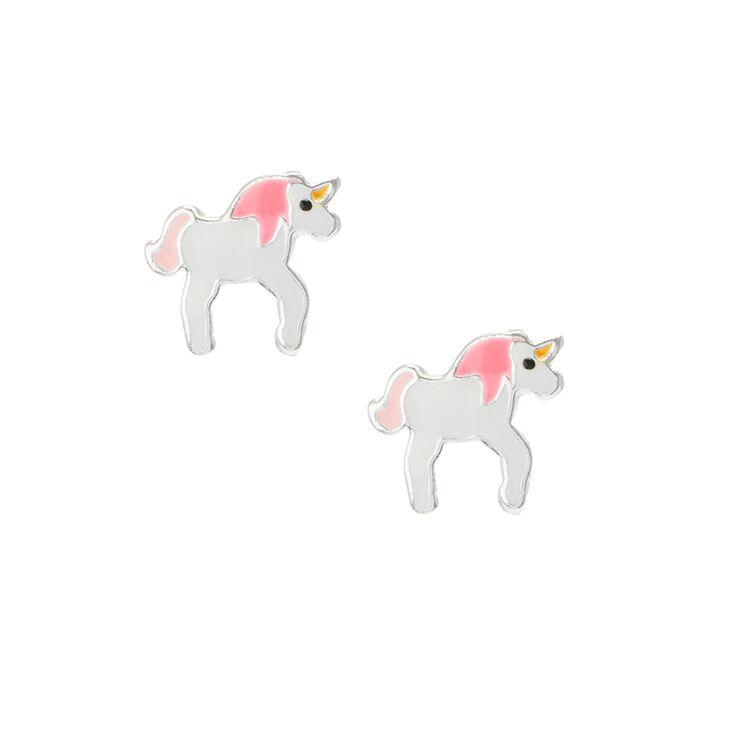 Sterling Silver Cute Little Unicorn Stud Earrings | Claire ...