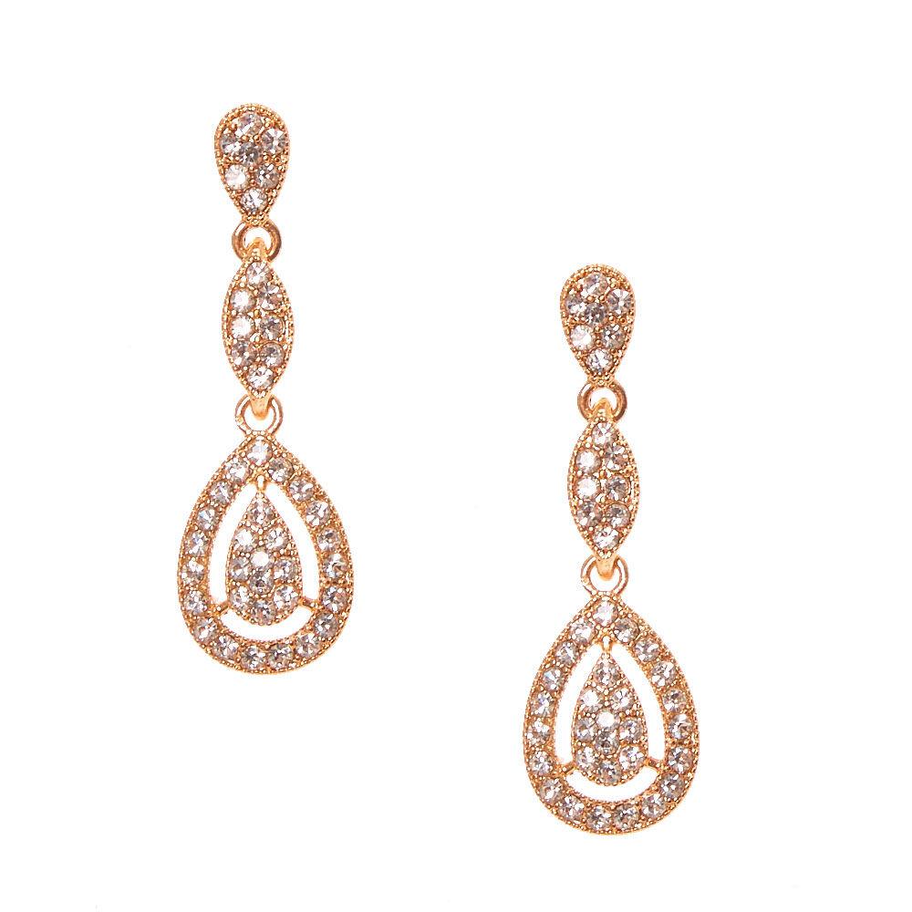Rose Gold Pav Teardrop Rhinestone Drop Earrings Icing US