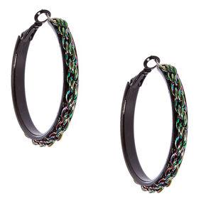Metallic Rainbow Chain Black Hoop Earrings,