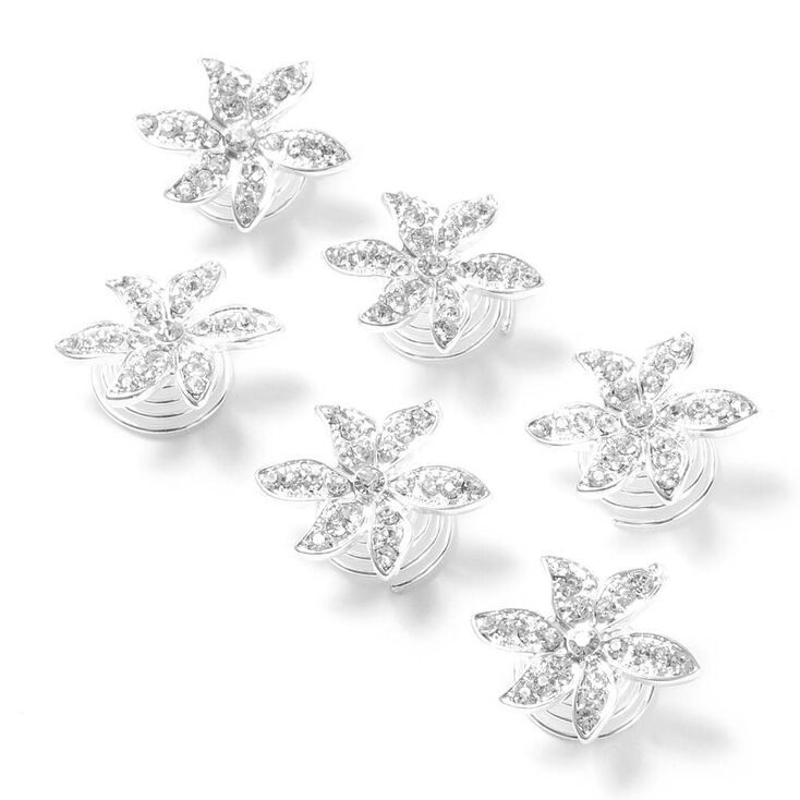 Pavé Rhinestone Flower Hair Jewels Set of 6 at Icing in Victor, NY | Tuggl