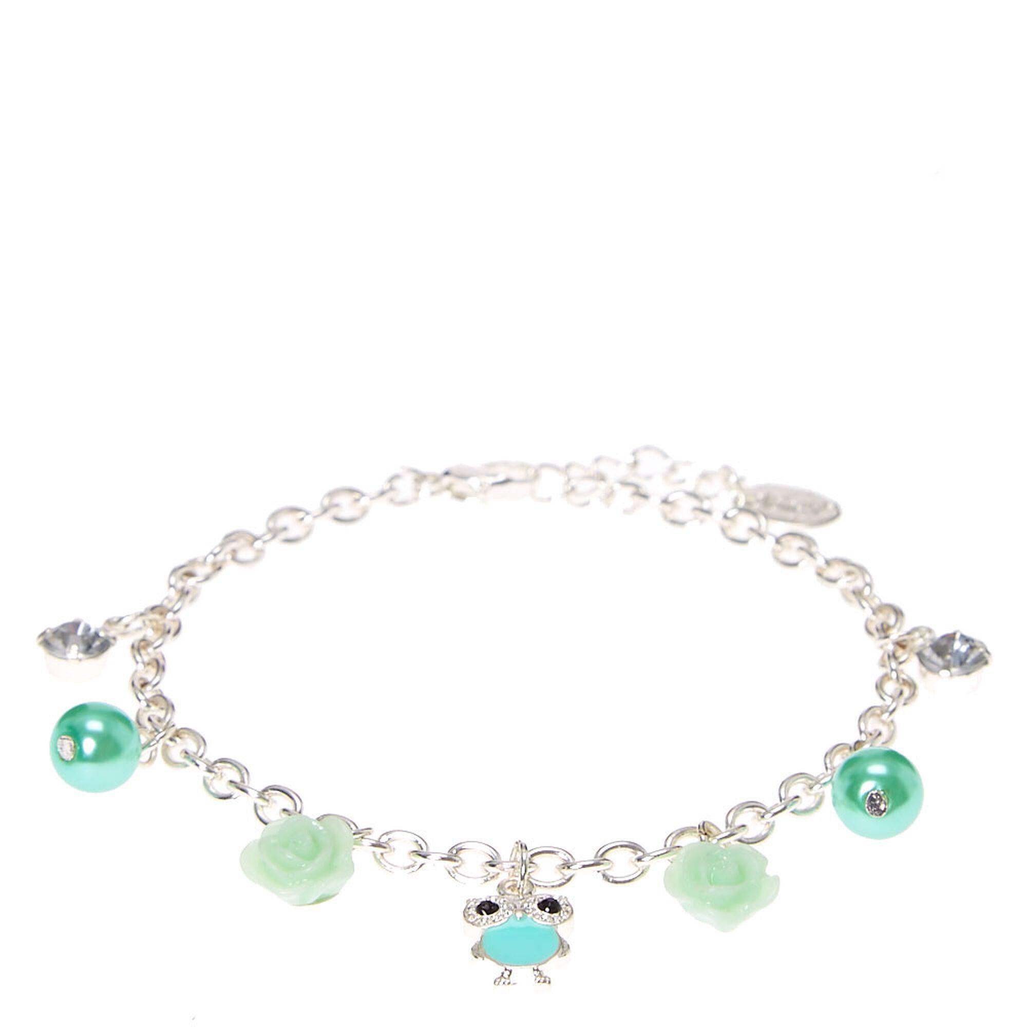 Mint Green Carved Rose And Owl Charm Bracelet,