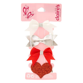 Kids 4 Pack Bow and Glitter Heart Hair Clips,