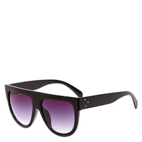 Flat Brow Retro Black Sunglasses,