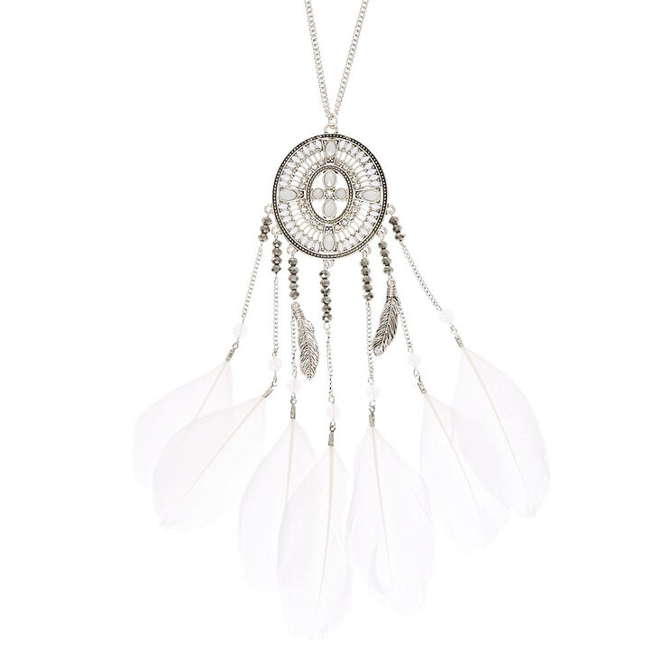 White Feather Dreamcatcher Necklace,