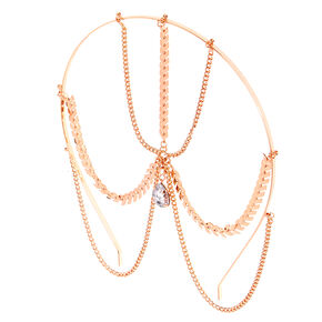 Rose Gold Teardrop Crystal Headband,