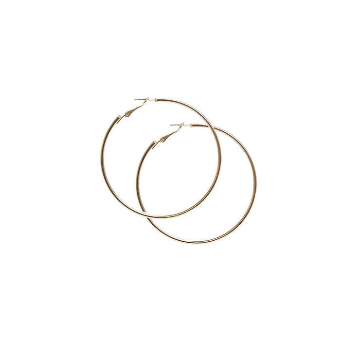 Rose Gold Glitter Flat Hoop Earrings,