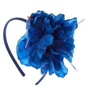 Navy Feathered Flower Headband,