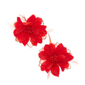 Red Lily and Feathers Hair Clips,