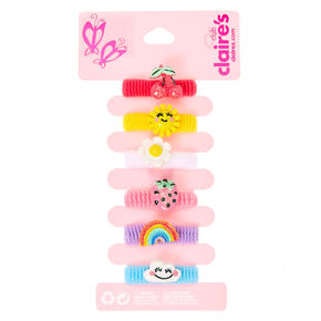 Kids Bright Summer Charms Ribbed Hair Ties,