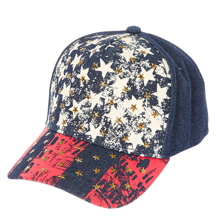 Stars and Stripes Denim Baseball Cap,