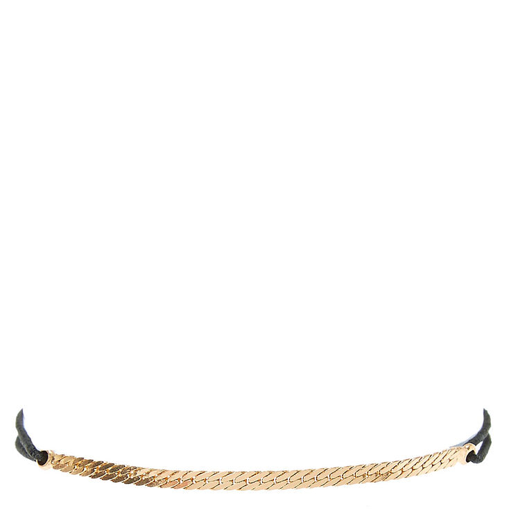 Black Double Stretch Bracelet with Gold Chain,