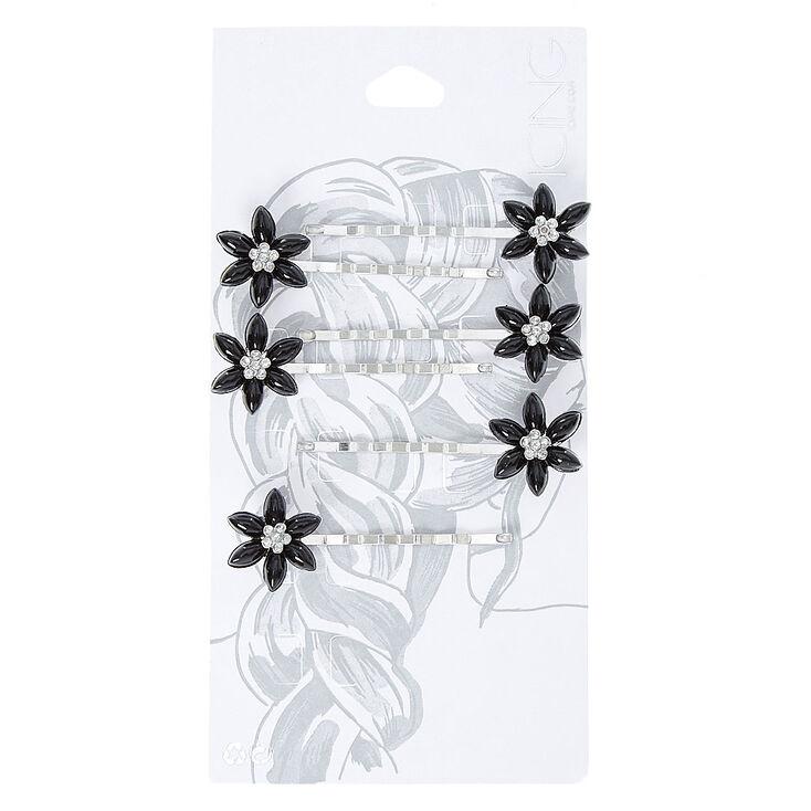 Black Flower Silver-tone Bobby Pins,