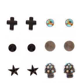 Black and Hematite Gothic Motif Stud Earrings,
