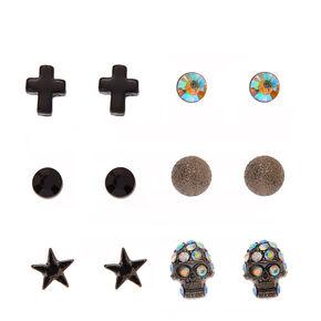 Black and Hematite Gothic Motif Stud Earrings,