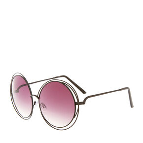 Black Round Wire Sunglasses,