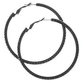 Black Crystal Studded Hoop Earrings,
