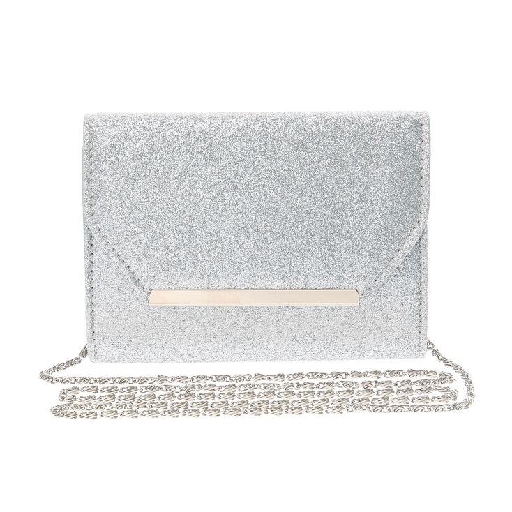 Silver Glitter Bar Clutch Crossbody Bag,