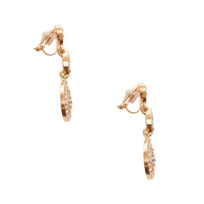 Gold-tone and Crystal Teardrop Clip-on Drop Earrings,