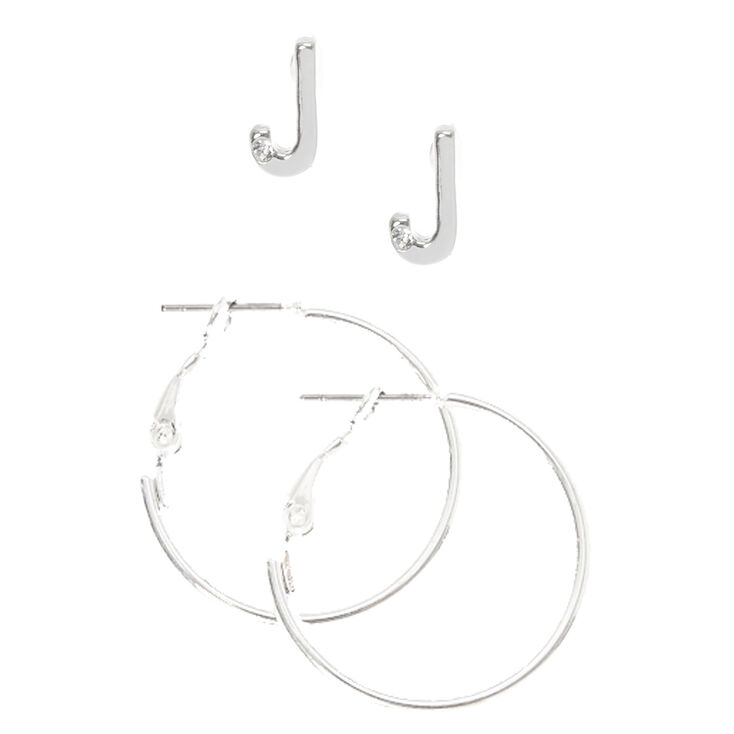 Silver Initial J Stud and Mini Hoop Earrings,
