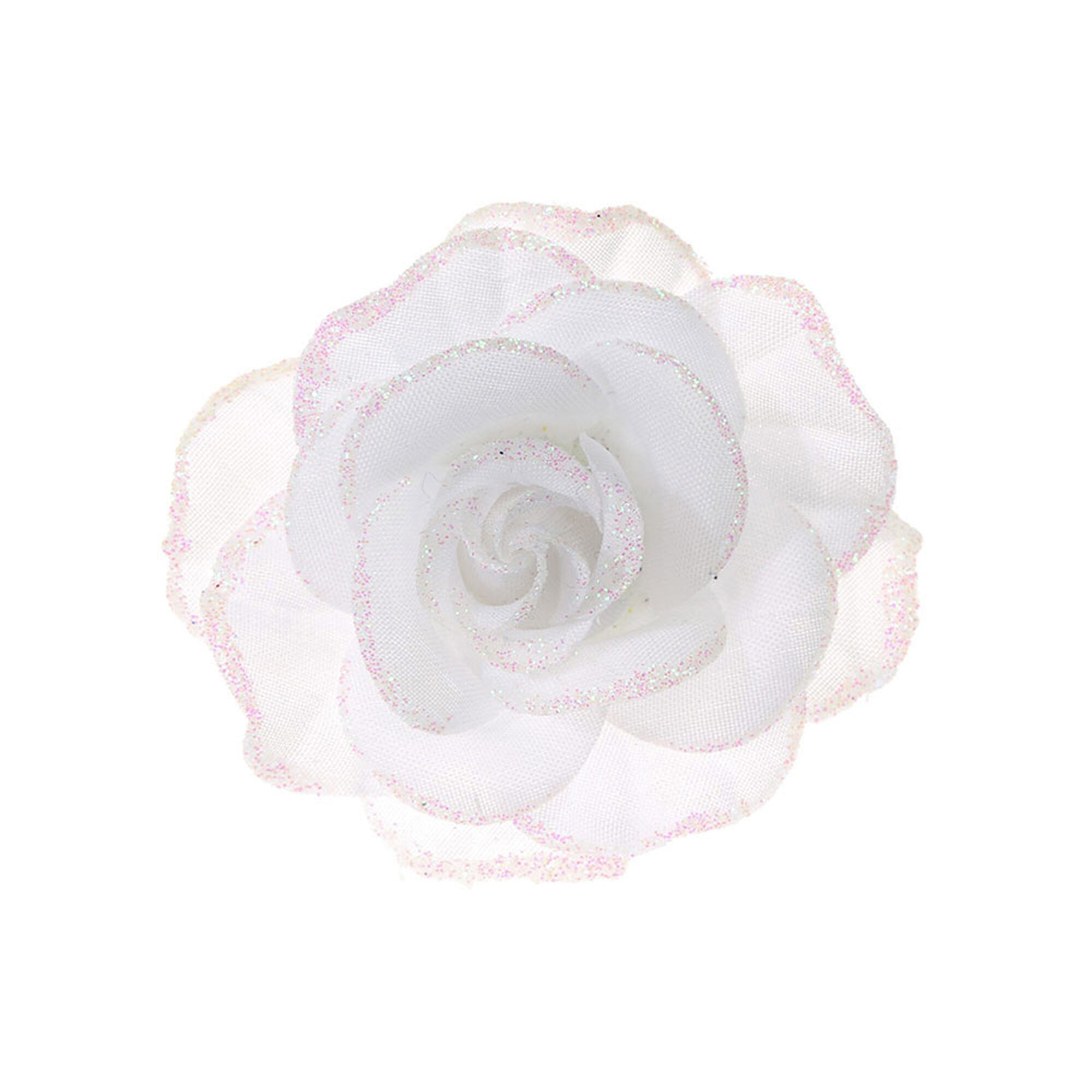 White Garden Rose Hair white glitter rose hair clip | claire's