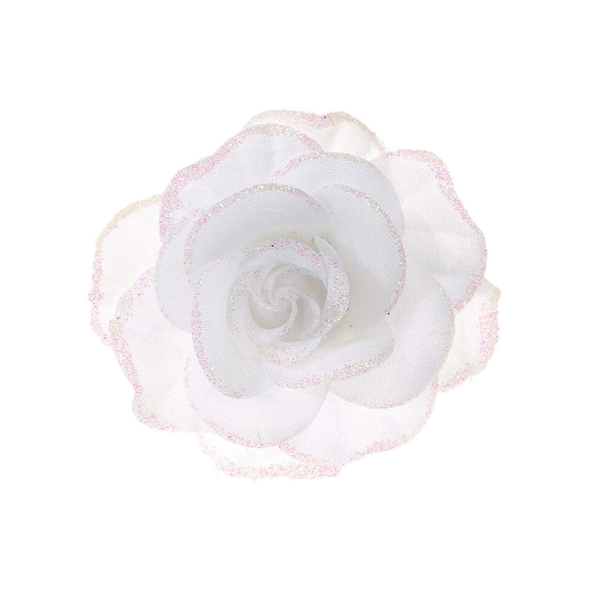 white glitter rose hair clip