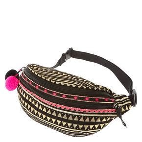 Black & Pink Aztec Pom Pom Fanny Pack,