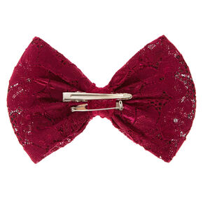 Burgundy Large Lace Bow Hair Clip,