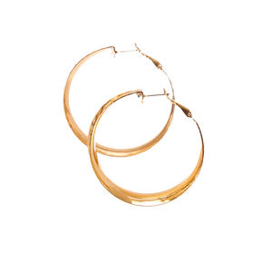 Gold-tone Hammered Wide Curved Hoop Earrings,