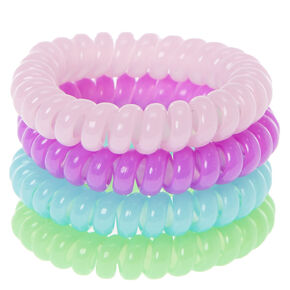Glow in the Dark Purple, Blue, and Green Coiled Hair Ties,