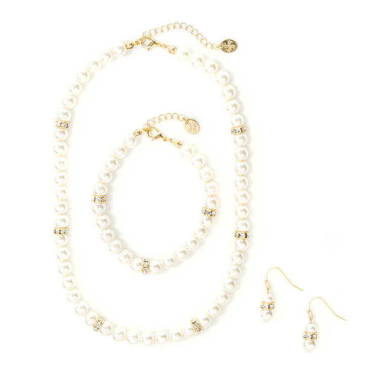 Pearl and Crystal Eternity Band Necklace, Bracelet and Drop Earrings Set of 3,