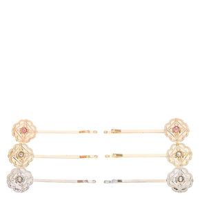 Mixed Metal Floral Medallion Bobby Pins,