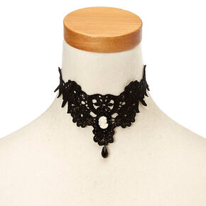 Black Lace Cameo Choker Necklace,