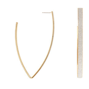 Gold and Silver Glitter Band V Hoop Earrings,