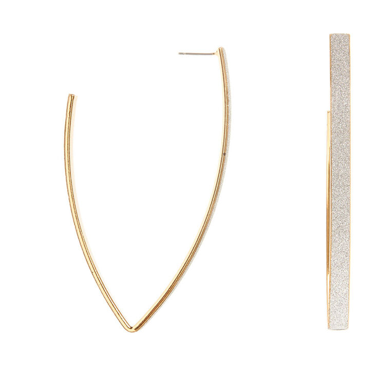 Gold and Silver Glitter Band V Hoop Earrings at Icing in Victor, NY | Tuggl