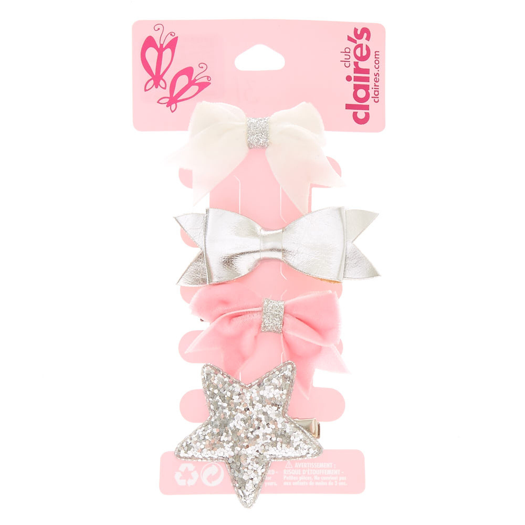 Kids Pink & Silver Bows & Star Hair Clips | Claire's US