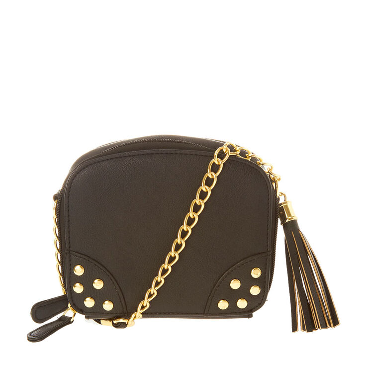 Black Faux Leather with Gold Metal Accents Crossbody Bag,