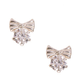 925 Sterling Silver Cubic Zirconia Crystal Bow Stud Earrings,