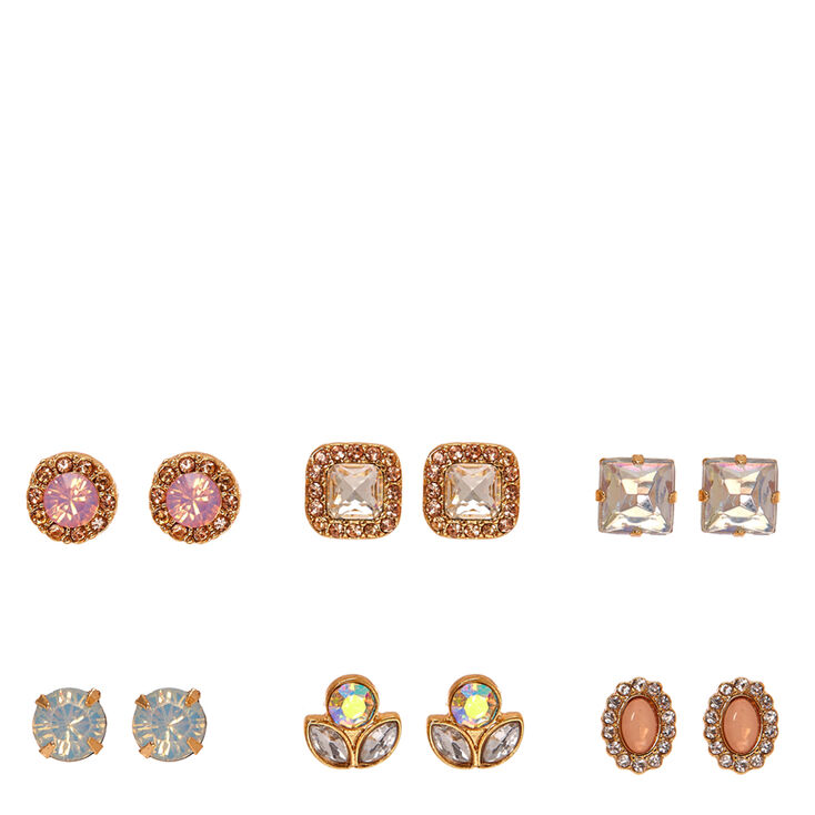 Gold-tone Pastel Crystal Glitz Stud Earrings,
